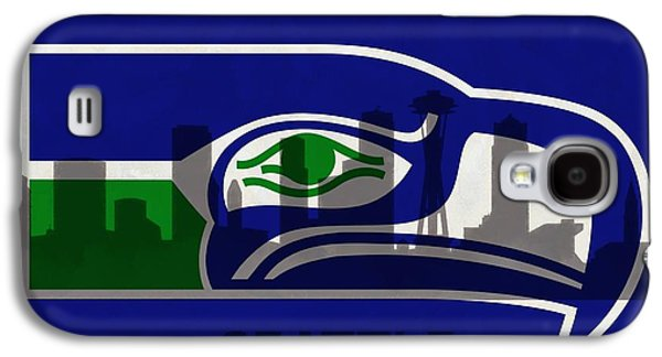 Skylines Mixed Media Galaxy S4 Cases - Seattle Seahawks On Seattle Skyline Galaxy S4 Case by Dan Sproul