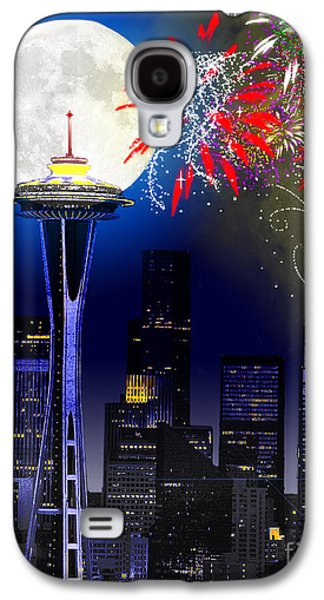Photo Manipulation Galaxy S4 Cases - Seattle Skyline Galaxy S4 Case by Methune Hively