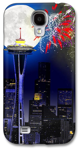 Photo Manipulation Digital Galaxy S4 Cases - Seattle Skyline Galaxy S4 Case by Methune Hively