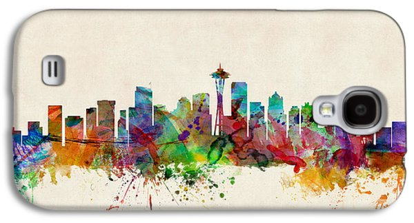 Cityscape Digital Galaxy S4 Cases - Seattle Washington Skyline Galaxy S4 Case by Michael Tompsett