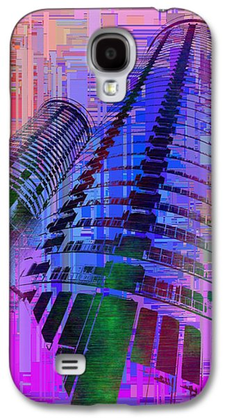 Purple Abstract Beige Galaxy S4 Cases - Seattle Westin Cubed 1 Galaxy S4 Case by Tim Allen