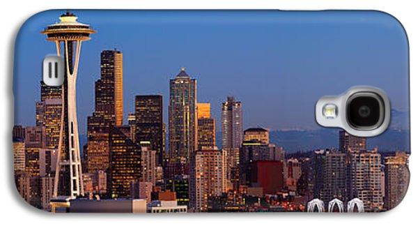 North America Galaxy S4 Cases - Seattle Winter Evening Panorama Galaxy S4 Case by Inge Johnsson