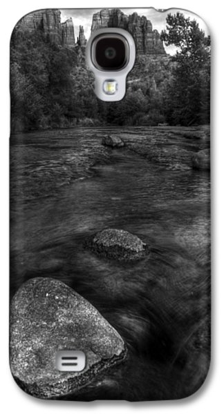 Oak Creek Photographs Galaxy S4 Cases - Sedona Cathedral Rock Black and White Galaxy S4 Case by Dave Dilli