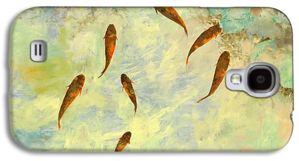 Fish Pond Galaxy S4 Cases - Sei Pesciolini Verdi Galaxy S4 Case by Guido Borelli