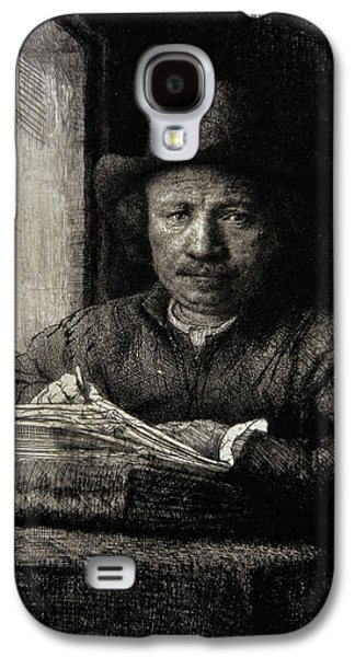 Drypoint Galaxy S4 Cases - Self-portrait Etching At A Window, 1648, By Rembrandt 1606-1669 Galaxy S4 Case by Bridgeman Images