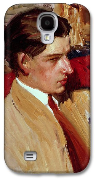 Male Paintings Galaxy S4 Cases - Self Portrait in Profile Galaxy S4 Case by Joaquin Sorolla y Bastida