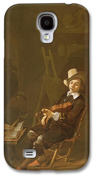 Studio Photographs Galaxy S4 Cases - Self Portrait Of The Artist Playing A Violin Galaxy S4 Case by Johannes Lingelbach
