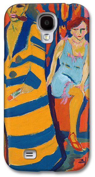 Self-portrait Galaxy S4 Cases - Self Portrait with a Model Galaxy S4 Case by Ernst Ludwig Kirchner