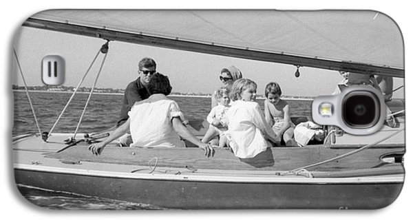 First-lady Galaxy S4 Cases - Senator John F. Kennedy with Jacqueline and Children Sailing Galaxy S4 Case by The Phillip Harrington Collection