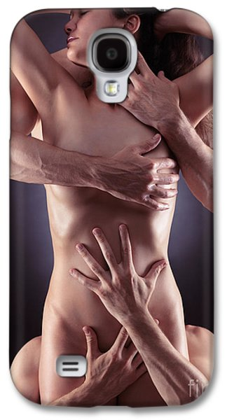 Provocative Photographs Galaxy S4 Cases - Sensual Photo of Male Hands Embracing a Woman Galaxy S4 Case by Oleksiy Maksymenko