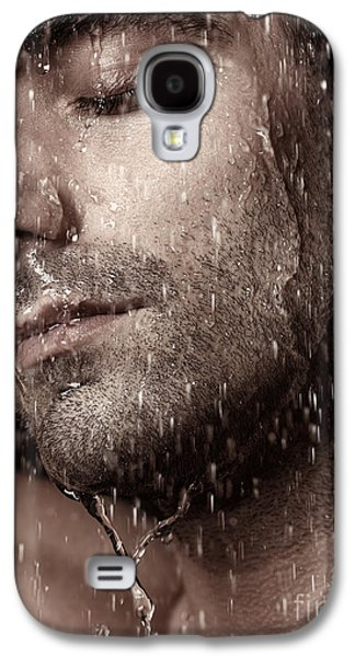 Sensual Portrait Of Man Face Under Pouring Water Galaxy S4 Case by Oleksiy Maksymenko