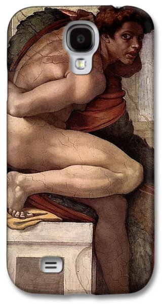 Separation Paintings Galaxy S4 Cases - Separation of Land from Sea - Ignudo detail Galaxy S4 Case by Michelangelo Buonarroti