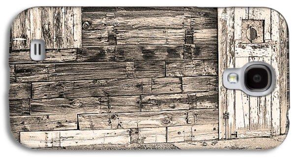 Mining Photos Galaxy S4 Cases - Sepia Rustic Old Colorado Barn Door and Window Galaxy S4 Case by James BO  Insogna