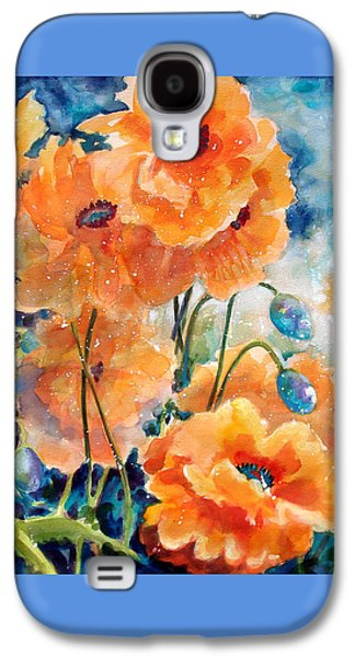 Colorful Abstract Galaxy S4 Cases - September Orange Poppies            Galaxy S4 Case by Kathy Braud