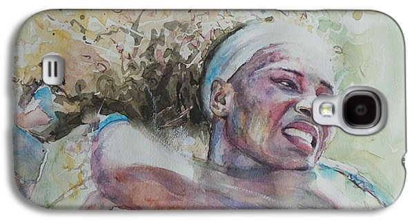 French Open Paintings Galaxy S4 Cases - Serena Williams - Portrait 2 Galaxy S4 Case by Baresh Kebar - Kibar