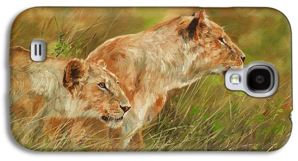 Sisters Paintings Galaxy S4 Cases - Serengeti Sisters Galaxy S4 Case by David Stribbling