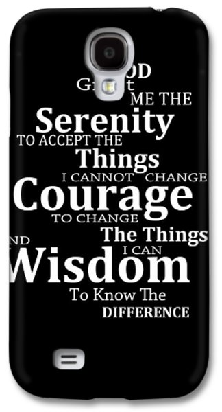 Courage Galaxy S4 Cases - Serenity Prayer 5 - Simple Black And White Galaxy S4 Case by Sharon Cummings