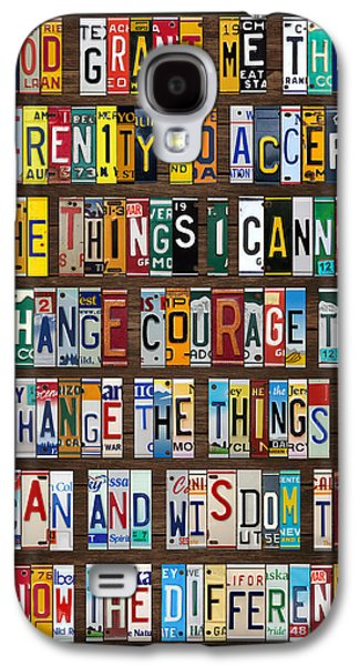 Serenity Prayer Reinhold Niebuhr Recycled Vintage American License Plate Letter Art Galaxy S4 Case by Design Turnpike