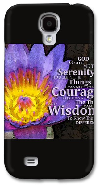 Strength Galaxy S4 Cases - Serenity Prayer With Lotus Flower By Sharon Cummings Galaxy S4 Case by Sharon Cummings