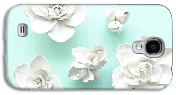 Floral Ceramics Galaxy S4 Cases - Set of five Magnolia Flowers- Magnolia Wall Sculpture Galaxy S4 Case by Lenka Kasprisin