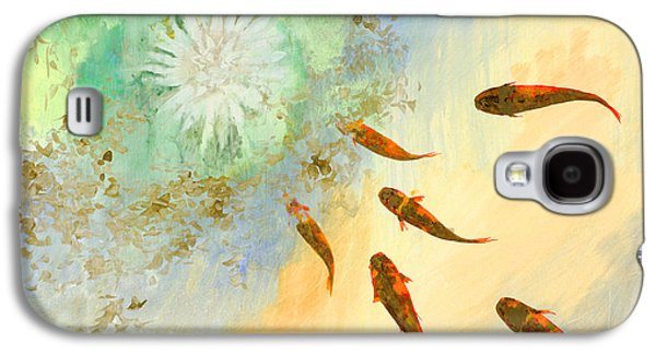 Fish Pond Galaxy S4 Cases - Sette Pesciolini Verdi Galaxy S4 Case by Guido Borelli