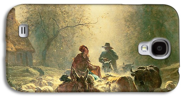Dog Trots Galaxy S4 Cases - Setting off For Market Galaxy S4 Case by Constant-Emile Troyon