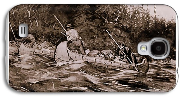 Canoe Drawings Galaxy S4 Cases - Setting Poles Galaxy S4 Case by Frederic Remington