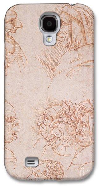 Physiology Galaxy S4 Cases - Seven Studies of Grotesque Faces Galaxy S4 Case by Leonardo da Vinci