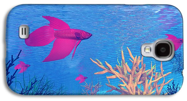 Betta Galaxy S4 Cases - Several Red Betta Fish Swimming Galaxy S4 Case by Elena Duvernay