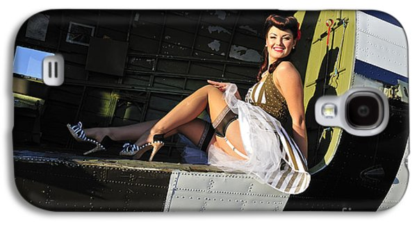 Full Skirt Galaxy S4 Cases - Sexy 1940s Style Pin-up Girl Sitting Galaxy S4 Case by Christian Kieffer