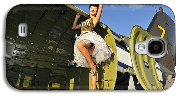 Full Skirt Galaxy S4 Cases - Sexy 1940s Style Pin-up Girl Standing Galaxy S4 Case by Christian Kieffer