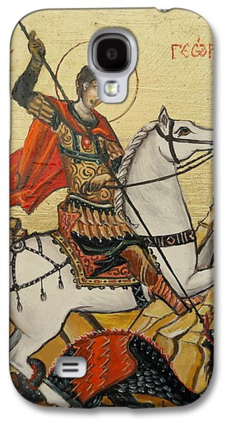 Icons Prints Paintings Galaxy S4 Cases - Sf. George and the dragon Galaxy S4 Case by Sorin Apostolescu