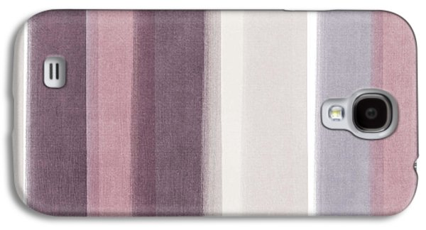 Stripes Mixed Media Galaxy S4 Cases - Shades of Purple- contemporary abstract painting Galaxy S4 Case by Linda Woods