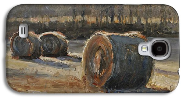 Hay Bales Paintings Galaxy S4 Cases - Shadows Across The Field Galaxy S4 Case by Spencer Meagher