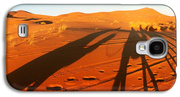 Sahara Sunlight Galaxy S4 Cases - Shadows Of Camel Riders In The Desert Galaxy S4 Case by Panoramic Images