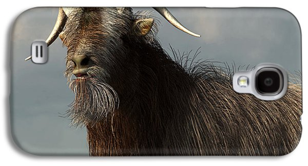 Goat Digital Art Galaxy S4 Cases - Shaggy Goat Closeup Galaxy S4 Case by Daniel Eskridge