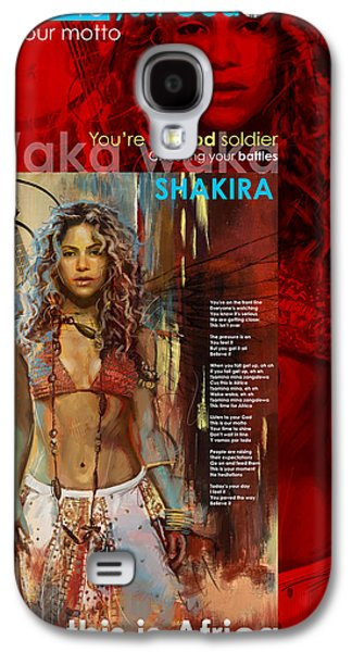 Shakira Paintings Galaxy S4 Cases - Shakira Art Poster Galaxy S4 Case by Corporate Art Task Force