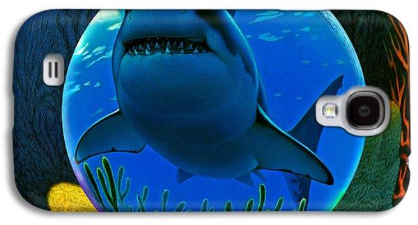 Shark Digital Art Galaxy S4 Cases - Shark World  Galaxy S4 Case by Robin Moline