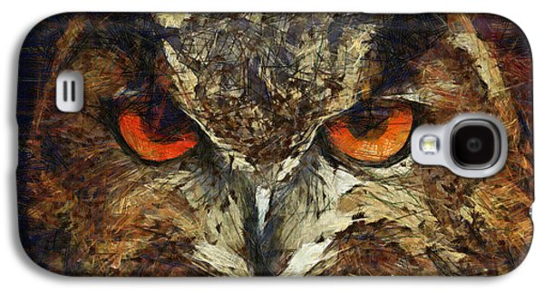 Nature Drawings Galaxy S4 Cases - Sharpie Owl Galaxy S4 Case by Ayse Deniz