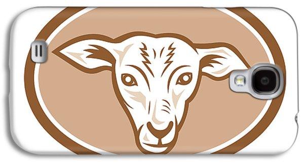 Sheep Digital Art Galaxy S4 Cases - Sheep Head Oval Cartoon Galaxy S4 Case by Aloysius Patrimonio
