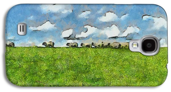 Animals Drawings Galaxy S4 Cases - Sheep Herd Galaxy S4 Case by Ayse Deniz