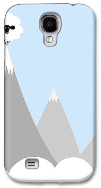Sheep Digital Art Galaxy S4 Cases - Sheep On Top of a Mountain Galaxy S4 Case by Christy Beckwith