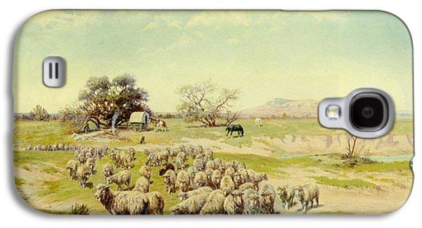 Sheep Digital Art Galaxy S4 Cases - Sheepherding Montana Galaxy S4 Case by Olaf Seltzer