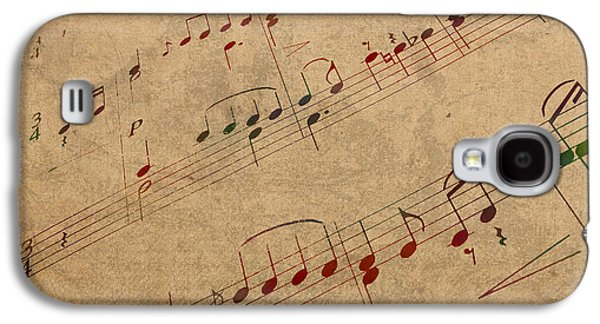 Sheet Galaxy S4 Cases - Sheet Music Watercolor Portrait on Worn Distressed Canvas Galaxy S4 Case by Design Turnpike