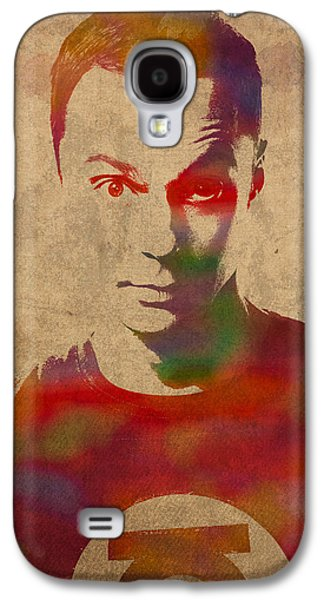 Theory Galaxy S4 Cases - Sheldon Cooper Big Bang Theory Jim Parsons Watercolor Portrait on Worn Distressed Canvas Galaxy S4 Case by Design Turnpike