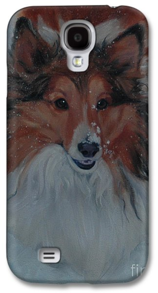 Dogs In Snow. Paintings Galaxy S4 Cases - Sheltie in Snow Galaxy S4 Case by Pet Whimsy  Portraits