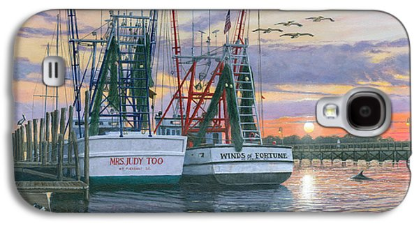 Usa Paintings Galaxy S4 Cases - Shem Creek Shrimpers Charleston  Galaxy S4 Case by Richard Harpum