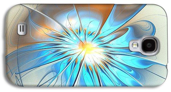 Blooming Galaxy S4 Cases - Shining Blue Flower Galaxy S4 Case by Anastasiya Malakhova