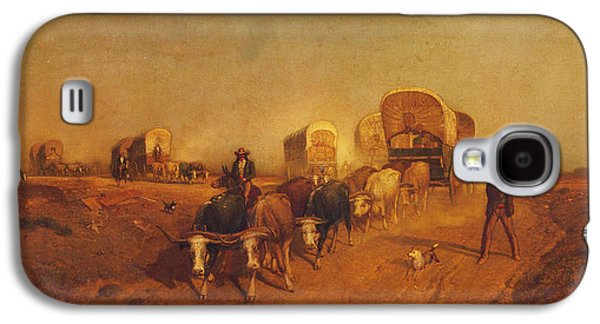 Ship Of The Plains Covered Wagons Galaxy S4 Case by Samuel Colman