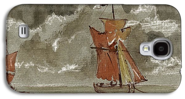 Frigates Paintings Galaxy S4 Cases - Ships at sea Galaxy S4 Case by Juan  Bosco